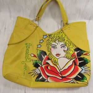 Ed Hardy 1971 Veronica Yellow Tote/Shoulder Bag